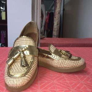 Tory Burch Woven Tan With Gold Trim Loafers